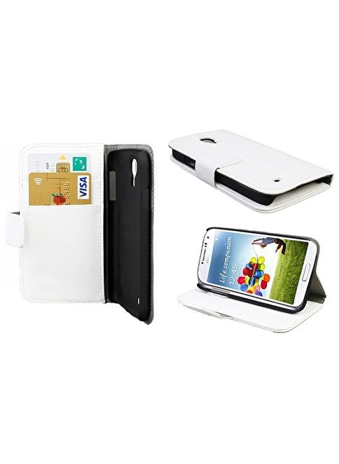 Microsonic Cüzdanlı Standlı Deri Kılıf - Galaxy S4 İ9500 Beyaz Renkli
